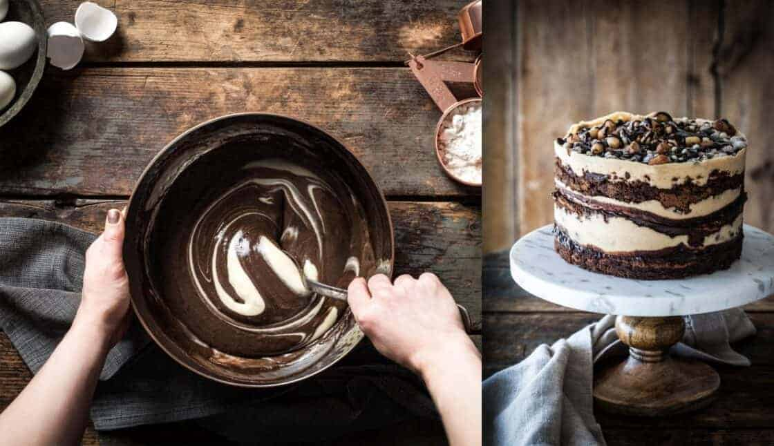overhead of hands stirring chocolate and marble chocolate peanut butter cake