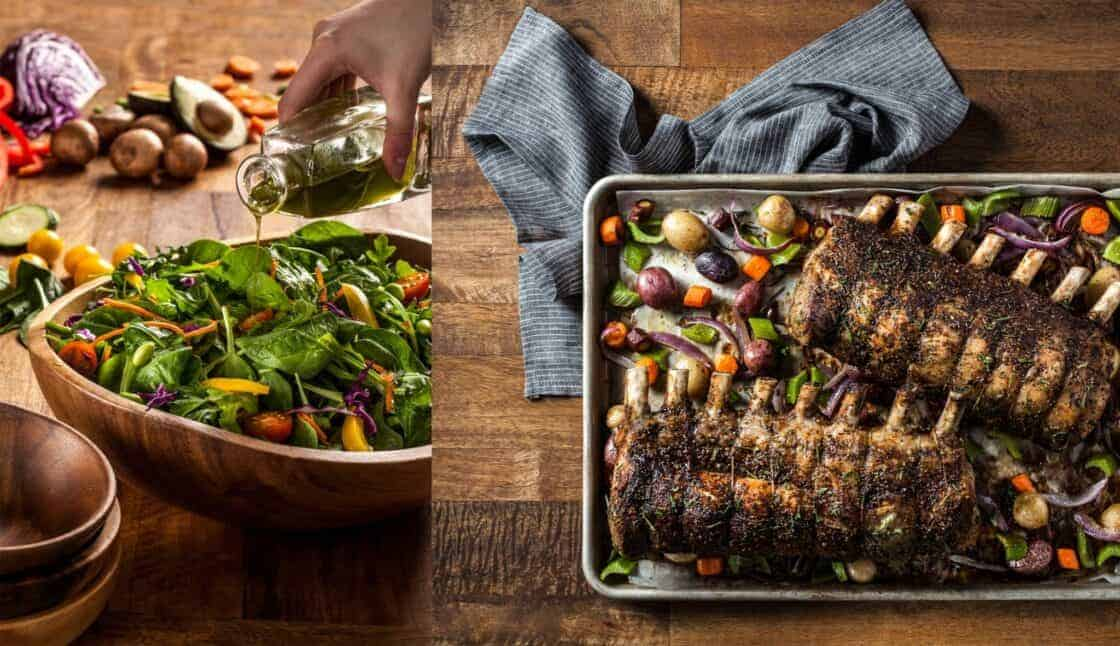 salad in rustic bowl and sheet pan with roasted ribs