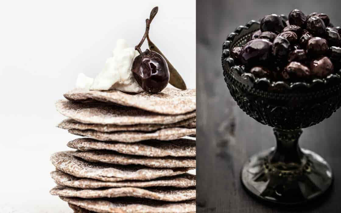 black and white olive appetizer