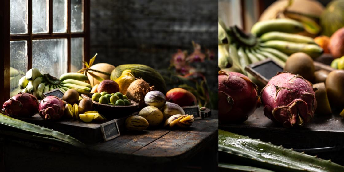 diptych of tropical fruit food photography with window and close up on pomegranate