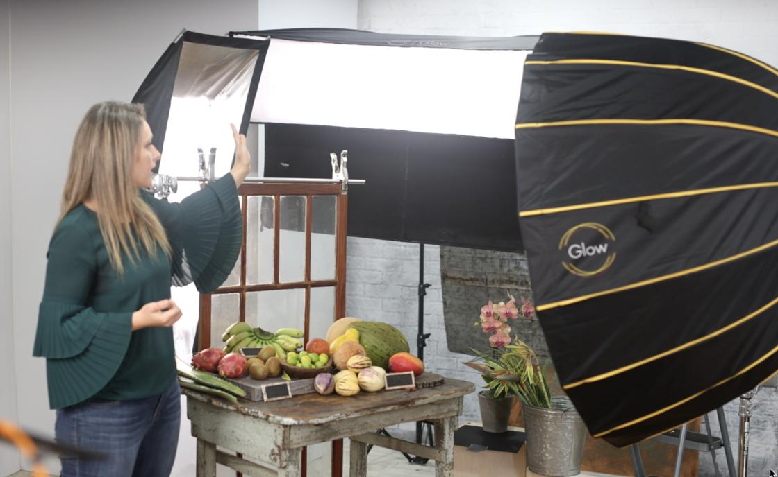 Artificial lighting set food photography