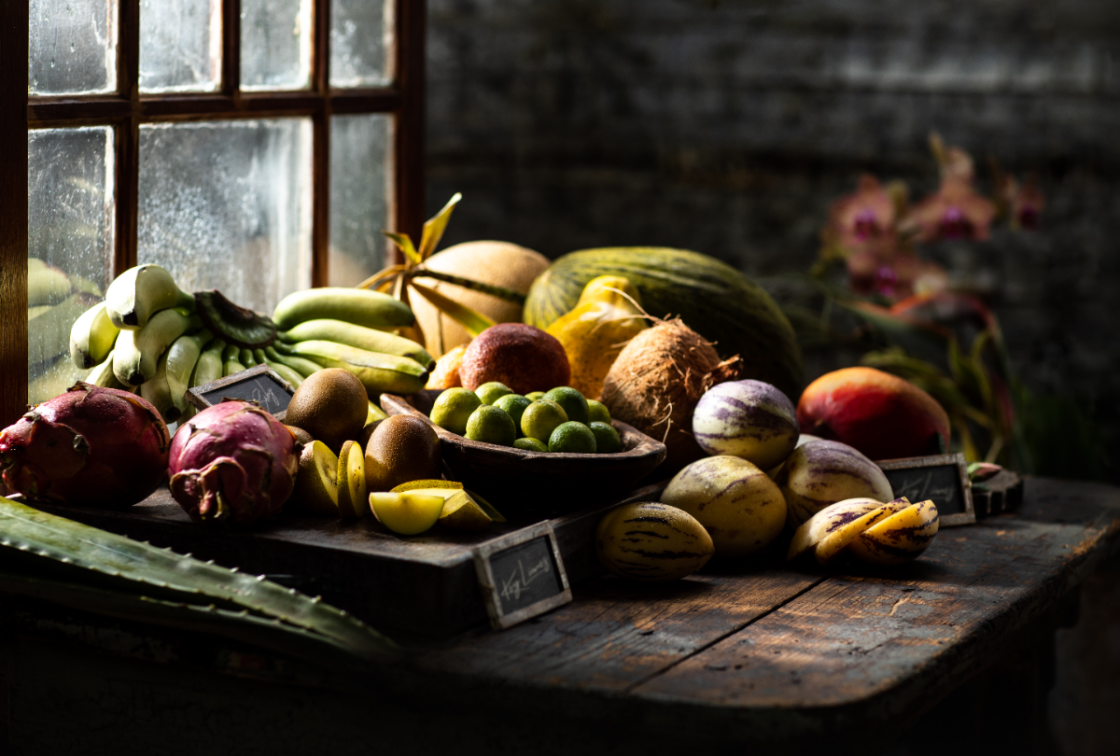 diptych of tropical fruit food photography with window