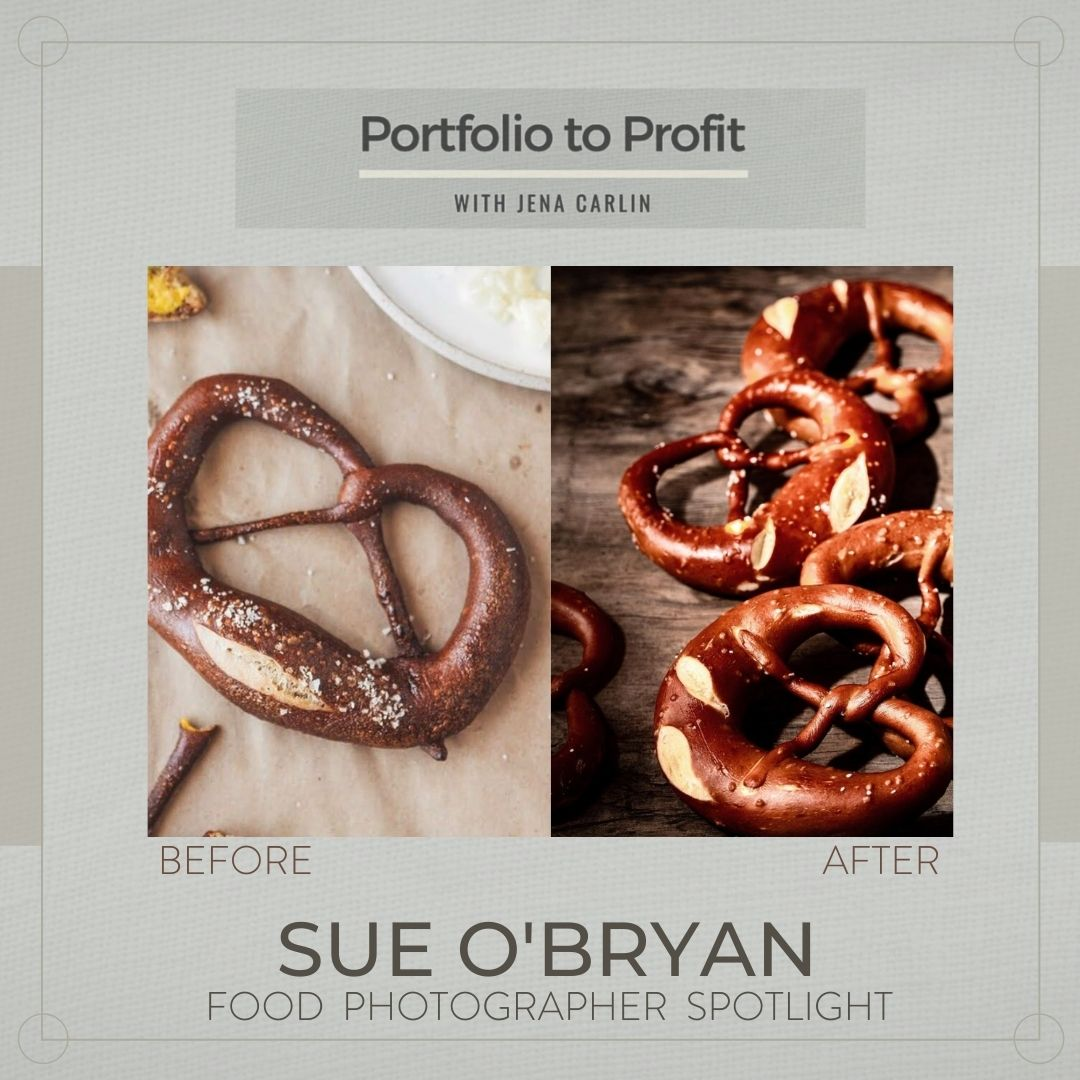 graphic with before and after photographer course big pretzel food photography